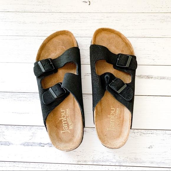Jambu | Black Double Buckle Sandals